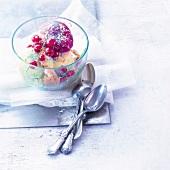 Three-flavored ice cream dessert