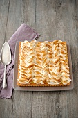 Rectangular-shaped lemon meringue pie