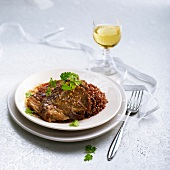 Leg of lamb with red quinoa