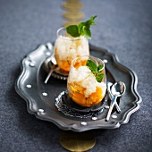 Mango fruit salad with Champagne granita