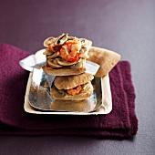 Shrimp, ginger and mushroom panini