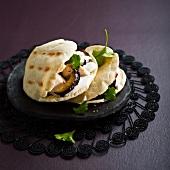 Chicken, eggplant and yoghurt sauce pitta sandwich