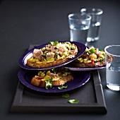 Guacmole, tuna tartare and confit citrus open sandwiches