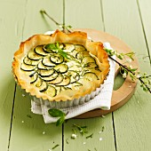 Zucchini, feta and mint quiche