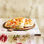 Tzatziki and salmon thin savoury tart