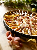 Pear, plum and walnut pie