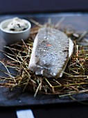 Plaice on hay with beaten butter