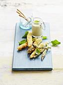 Green asparagus tempuras and white asparagus fritters