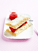 Strawberry Mille-feuille with strawberry puree