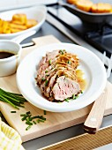 Veal filet mignon with chives,honey sauce