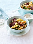 Penne with peas,chorizo,onions and lemon zests