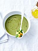 Cream of pea and potato soup