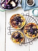 Red cabbage,apple and white sausage mini quiches