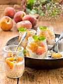 Rice pudding with stewed peaches
