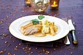Poularde hen breast in whisky sauce, roasted salsifies and mashed potatoes