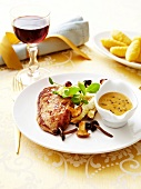 Pan-fried capon breast with mushrooms,grilled sucrine and pepper sauce