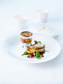 Pan-fried foie gras with stewed raisins and onions