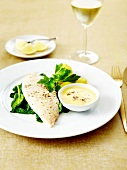 John Dory fillets with spinach and white butter