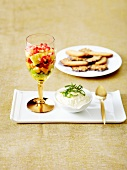 Lemon mousse, exotic fruit salad and crispy cookies