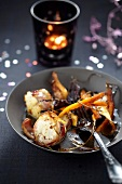 Pan-fruit monkfish with old-fashioned vegetables