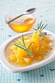 Apricot tartare with honey and rosemary