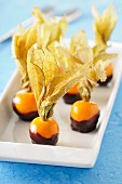 Physalis coated in chocolate