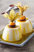 Mango and physalis panacotta