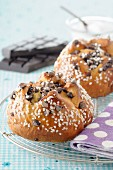 Sugar and chocolate chip brioches