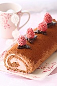 Chocolate-raspberry log cake