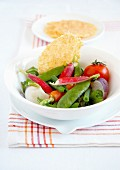 Mixed steamed crisp vegetables and parmesan tuiles