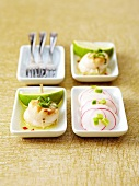 Scallop duo: scallop brochettes and scallop carpaccio