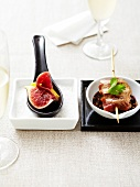 Duck duo :marinated duck brochette and smoked duck and fig spoon
