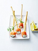Cream cheese and smoked salmon breadstick pops