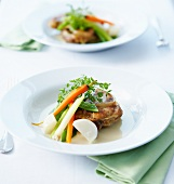Osso bucco with steamed spring vegetables
