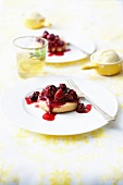 Shortbreads topped with stewed summer fruit
