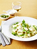 Papardelle with pesto and rocket lettuce