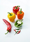 Assortment of peppers on a white background