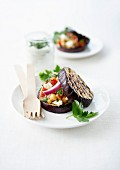 Grilled eggplant surprise sandwich