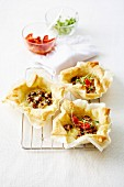 Grilled mushroom and parmesan pastry cups