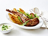 Rabbit with pears and herbs