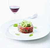 Veal tartare with mint and grated cucumber