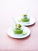 Green gazpacho with appetizer spoons
