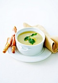 Cream of leek and potato soup, breadsticks wrapped in smoked ham
