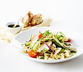 Farfalle, cucumber and chicken salad