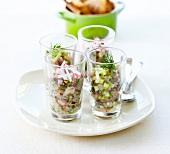 Mini smoked fish tartares
