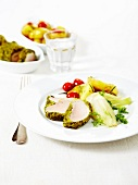 Chicken breast in pistachio crust, southern vegetables