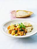 Vegetarian winter vegetable curry,plain nan