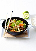 Beef and spring vegetable small wok
