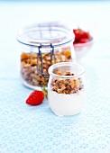 Joghurt mit selbst gemachtem Müsli und frischen Erdbeeren