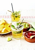 Mexican aperitif with Mojitos